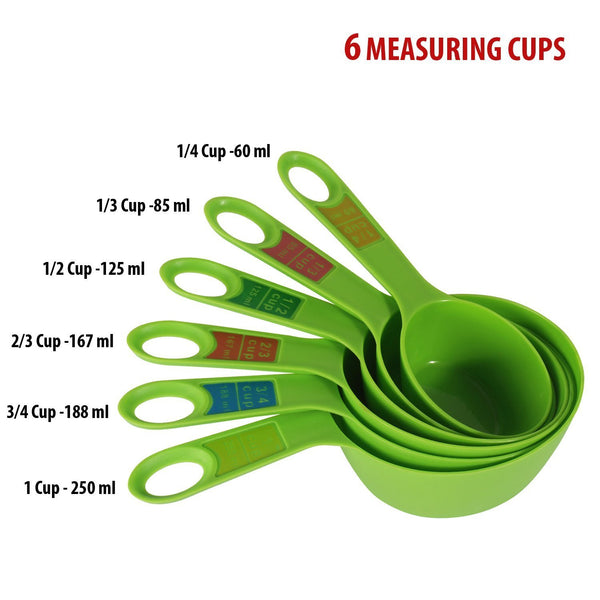 Plastic Measuring Cups and Spoon Set with Ring Holder, 12 Piece Set.