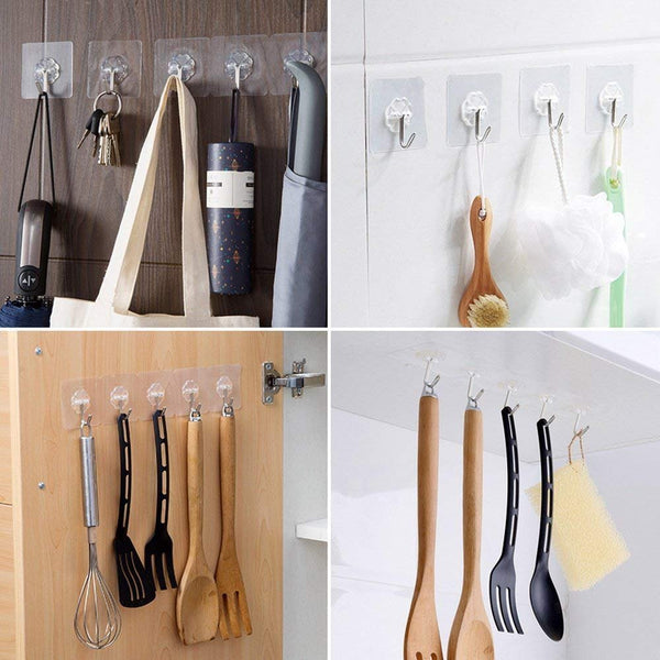 Adhesive Wall Sticky Hooks Heavy Duty Utility Hook Transparent Reusable Wall Hangers 10KGS/22lb Waterproof for Home Kitchen Bathroom Bedroom Dorm Keys Bag Towels - 10 Pack
