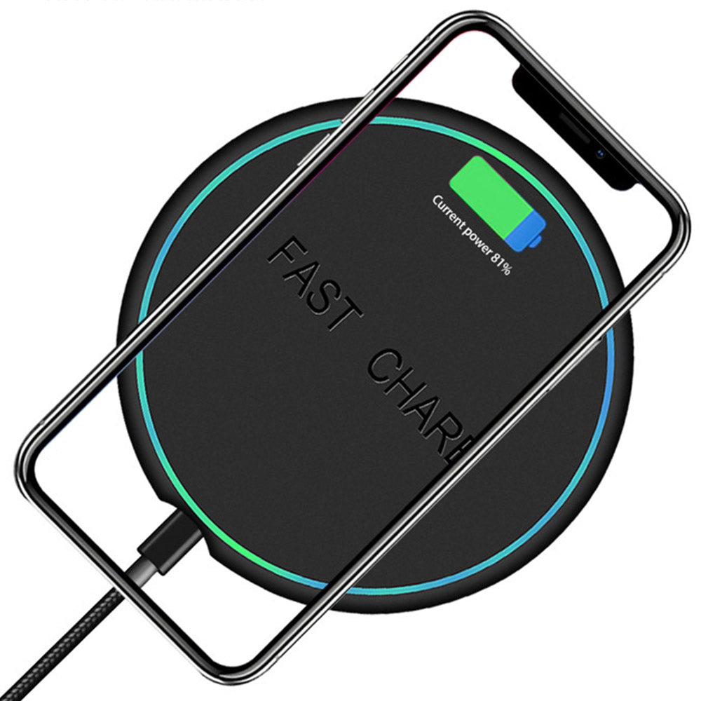 Wireless Charger Pad with USB Cable for Qi Enabled Wireless Charging Devices with LED Light  (Black)