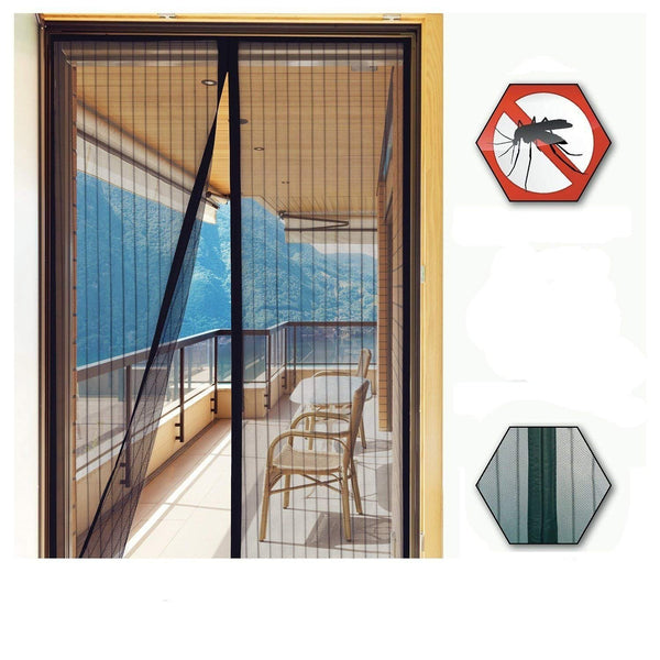 Mosquito Screen Curtain (100 x 210 cms) for Main Doors, Balcony Doors Or Kitchen Doors Net Mesh Magnetic Automatic Magic Closer