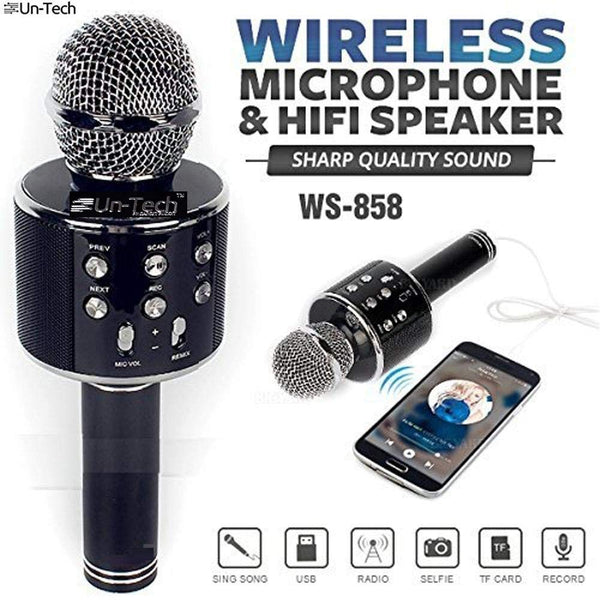 UnTech Wireless Karaoke Mic-WS 858 Bluetooth Microphone Recording Condenser Handheld Microphone Stand with Bluetooth Speaker Audio Recording (Color May Vary)