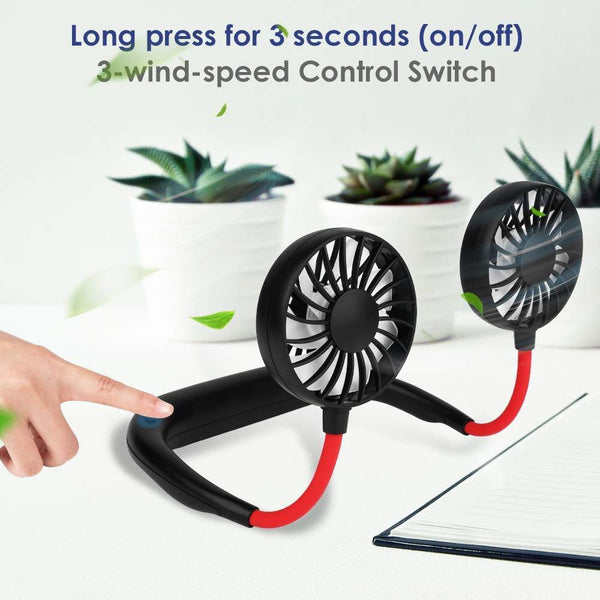 Hand Free Small Personal Mini USB Fan Rechargeable Battery Operated Neck Fan with 3 Speeds - gadgetbucketindia