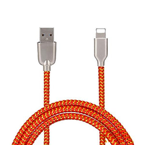 Mesh Plastic Rubber Covered Fast Charging USB Cable Orange for Apple