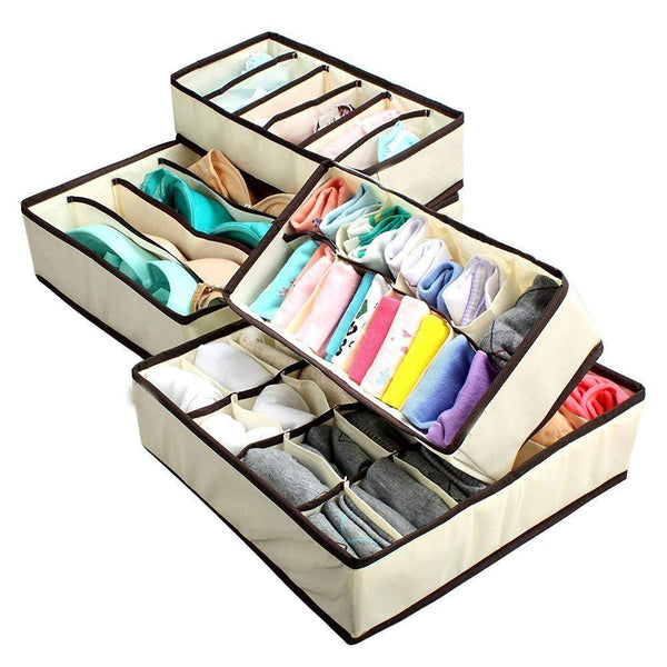 Foldable Fabric Drawer Organizer for Innerwear (30 cm x 35 cm x 10.01 cm, Set of 4)