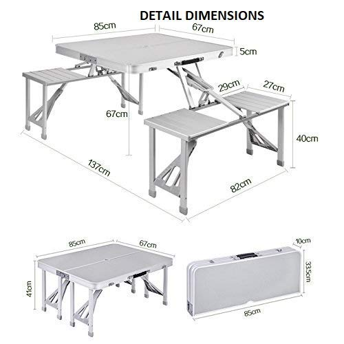 Heavy Duty Aluminium Portable Folding Picnic Table & Chairs Set