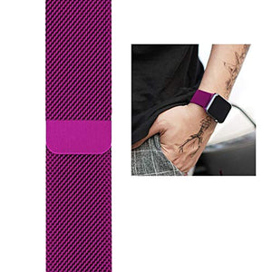 Stainless Steel Milanese Strap Band with Magnetic Closure Compatible with iWatch Series 1/2/3/4(38MM Purple)