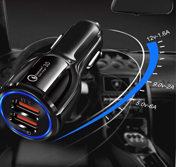 Dual Port 3.0 Quick Car Charger with Micro USB Cable-Black