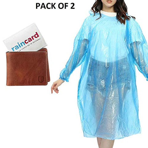 Free Size Raincard Disposable Reusable Waterproof Rain Poncho Credit Card Sized Raincoat with Drawstring Hood Pocket for Men Women Kids -Set Of 2