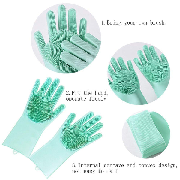 Silicone Dish Washing Hand Gloves for Cleaning and Pet Grooming