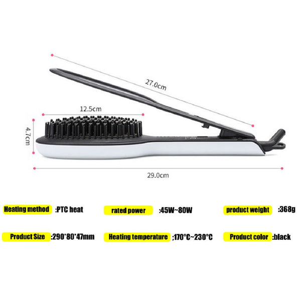 Hair Straightener Brush with Precision Press Ceramic Splint Straight Hair Comb - gadgetbucketindia