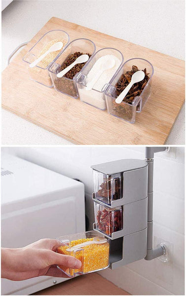 Acrylic Rotatable Kitchen Spice Rack Holder Wall-Mounted Plastic Transparent Seasoning Box for Spice Sets Without Handle  3 Layers)