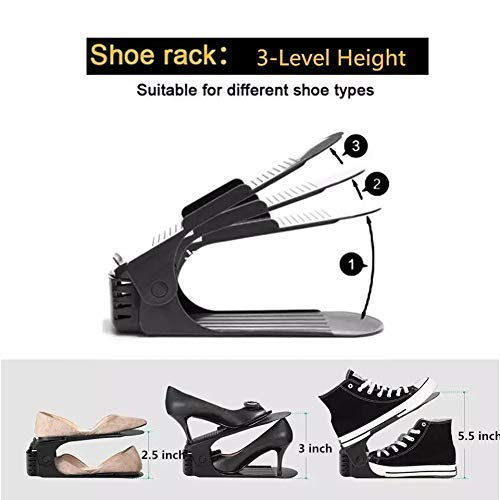 Adjustable Shoe Slots Organizer, Portable Shoe Rack, Space Saver Rack Holder (Black)  Pack of 1