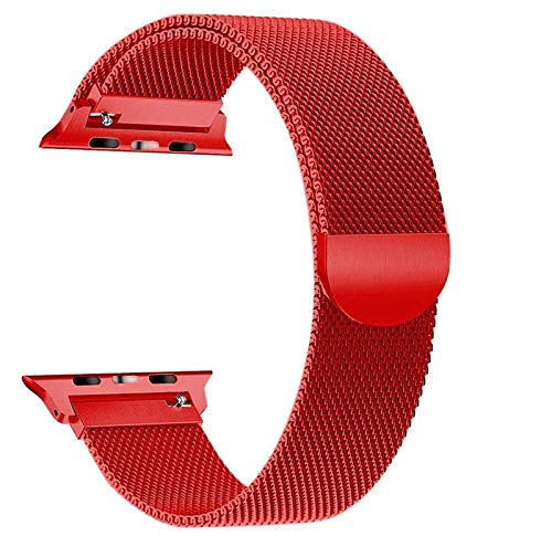 Stainless Steel Milanese Strap Band with Magnetic Closure Compatible with iWatch Series 1/2/3/4(Red)