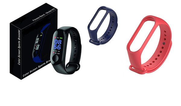 Fitness M3 Wristband Heart Rate Band Activity Tracker for Android iOS (Black) + Band Belts (Navy Blue + Red )