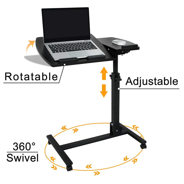 Un-Tech Angle & Height Adjustable Rolling Table Desk Laptop Notebook Stand Tiltable Tabletop Desk Sofa/Bed Side Table Hospital Table Stand W/Lockable Casters