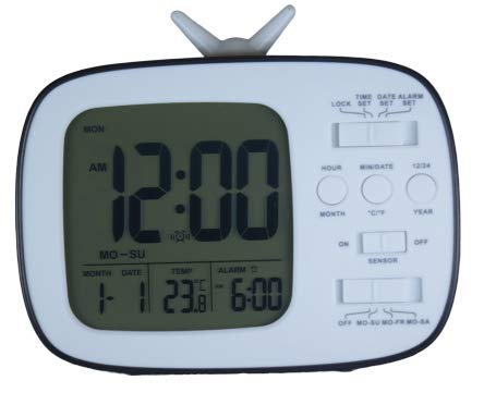TV Shape Digital Alarm Clock with Calendar, Indoor Temperature, Smart Sensor Light