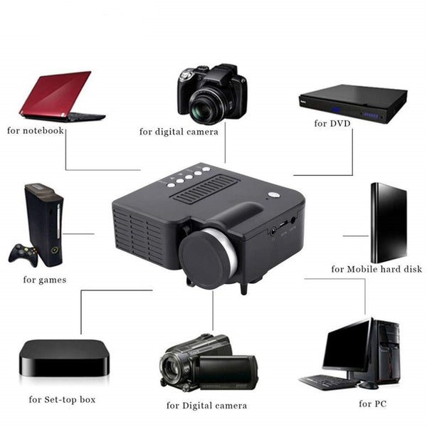 Uc-28 1080p 400 Lumens Mini Portable Video Projector with USB, Hdmi, Vga Port Inbuilt Speaker