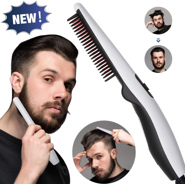 V2 Quick Beard and Hair Straightening Brush, Electric Styler Comb for Men,Women