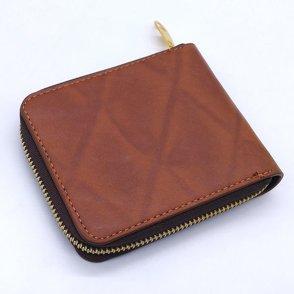 Men's Wallet Premium Stylish PU Leather Round Gold Zipper Brown Men Wallet ((Brown )Lite Wheel)