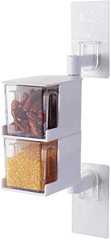 Acrylic Rotatable Kitchen Spice Rack Holder Wall-Mounted Plastic Transparent Seasoning Box for Spice Sets Without Handle 2 Layers