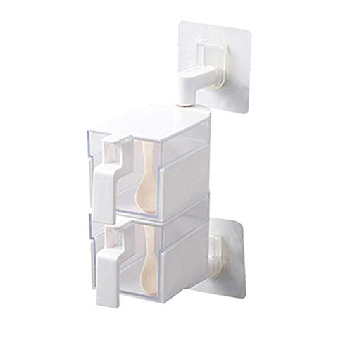 Acrylic Rotatable Kitchen Spice Rack Holder Wall-Mounted Plastic Transparent Seasoning Box for Spice Sets Handle , 2 Layers