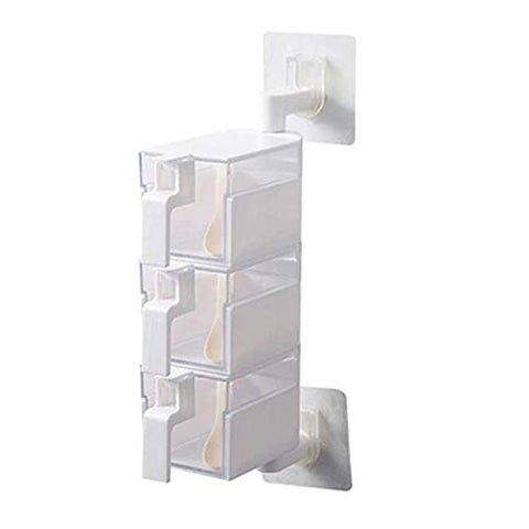 Acrylic Rotatable Kitchen Spice Rack Holder Wall-Mounted Plastic Transparent Seasoning Box for Spice Sets Handle, 3 Layers