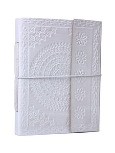 Leather Diary Journal Notebook Notepad White Hand Embossed Leather Diary with a Thread Closure