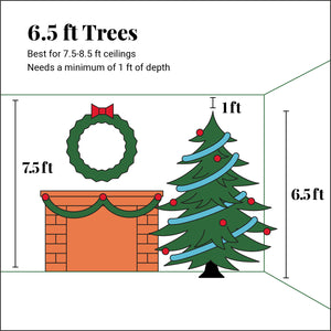 6.5' King Fraser Fir Slim Quick-Shape Artificial Christmas Tree with 600 Warm White & Multi-Color LED Lights