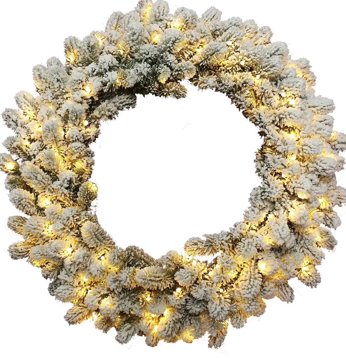 36″ King Flock Wreath With 150 Warm White LED Lights (Plug Operated)