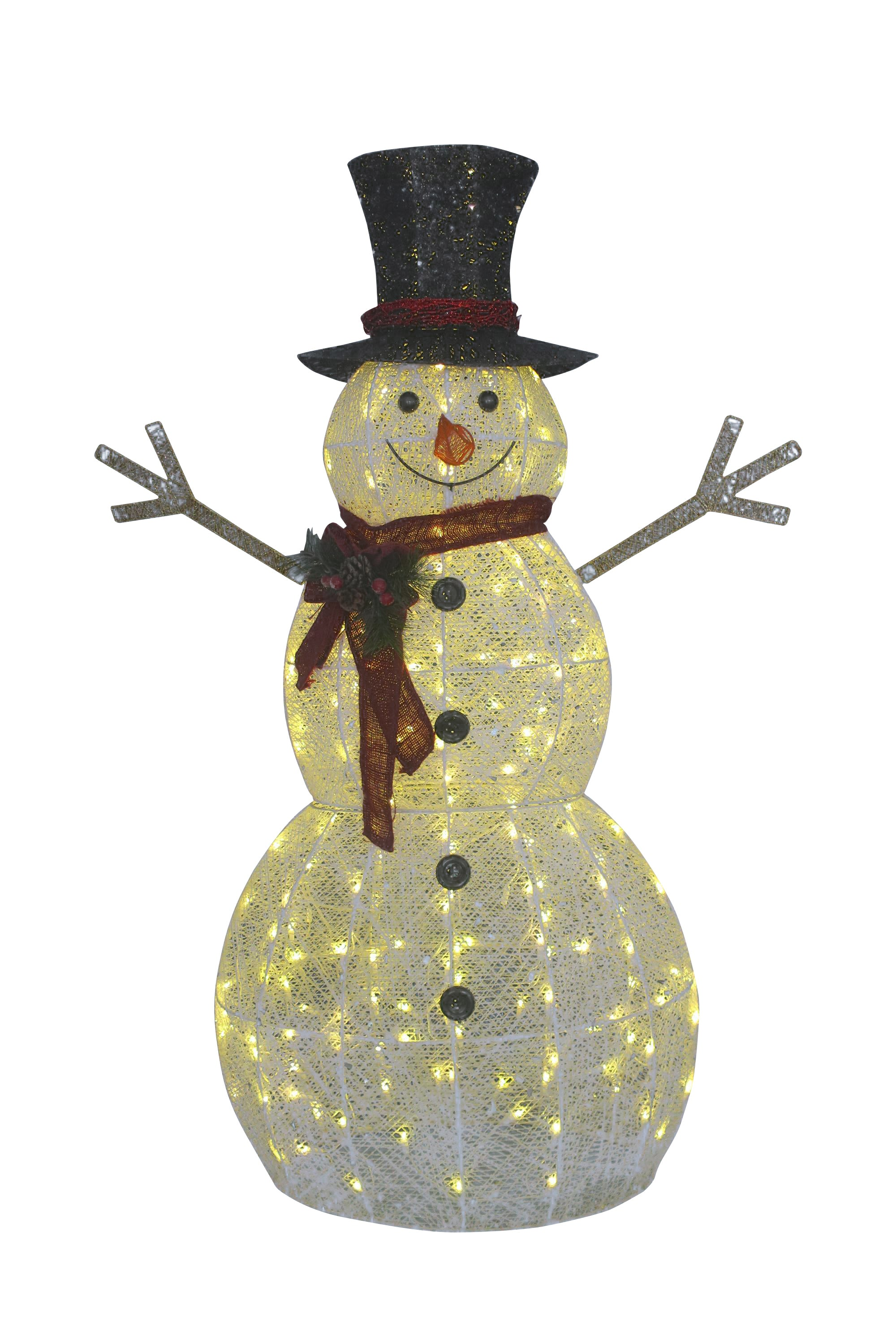 5' Sparkling Snowman Outdoor Decoration with 200 Cool White LED Lights