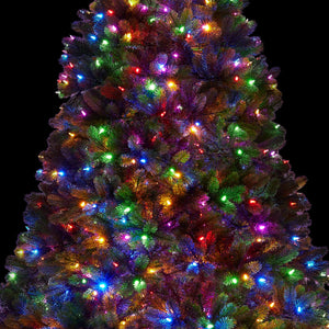6.5' Royal Fir Quick-Shape Artificial Christmas Tree with 850 Warm White & Multi-Color LED Lights
