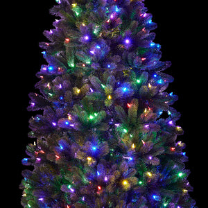 6.5' Royal Fir Slim Quick-Shape Artificial Christmas Tree with 500 Warm White & Multi-Color Color LED Lights