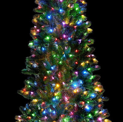 7.5 King Douglas Fir Slim Quick-Shape Artificial Christmas Tree with 650 Warm White & Multi-Color Color LED Lights