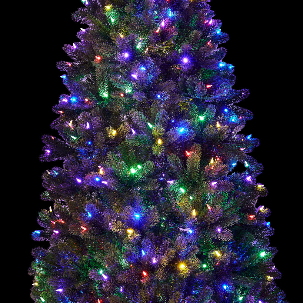 7 5 Royal Fir Slim Quick Shape Artificial Christmas Tree With 650 Warm White Multi Color Color Led Lights