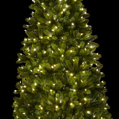 9' Royal Fir Slim Quick-Shape Artificial Christmas Tree with 900 Warm White & Multi-Color Color LED Lights