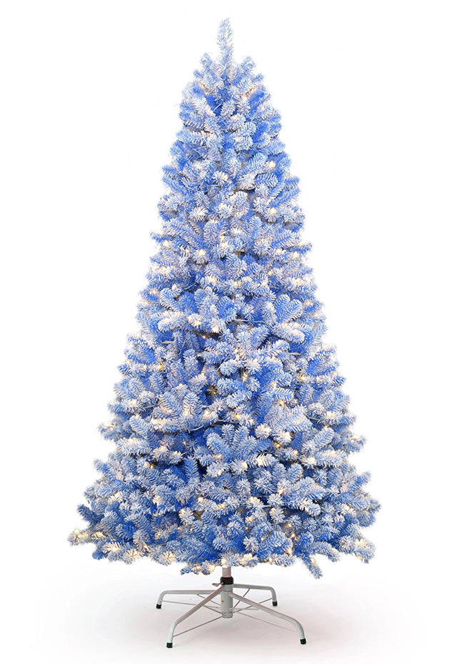6.5' Duchess Blue Flock Artificial Christmas Tree with 500 Warm White LED Lights