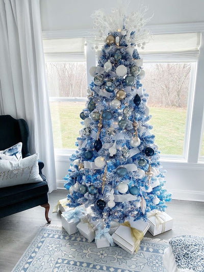 7.5' Blue Flock Artificial Christmas Tree with 600 Warm White LED Lights