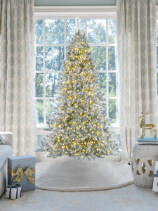 9' Prince Flock® Artificial Christmas Tree with 650 Warm White LED Lights