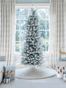 9' King Flock® Slim Artificial Christmas Tree Unlit
