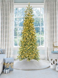 9' King Douglas Fir Slim Quick-Shape Artificial Christmas Tree with 750 Warm White & Multi-Color LED Lights