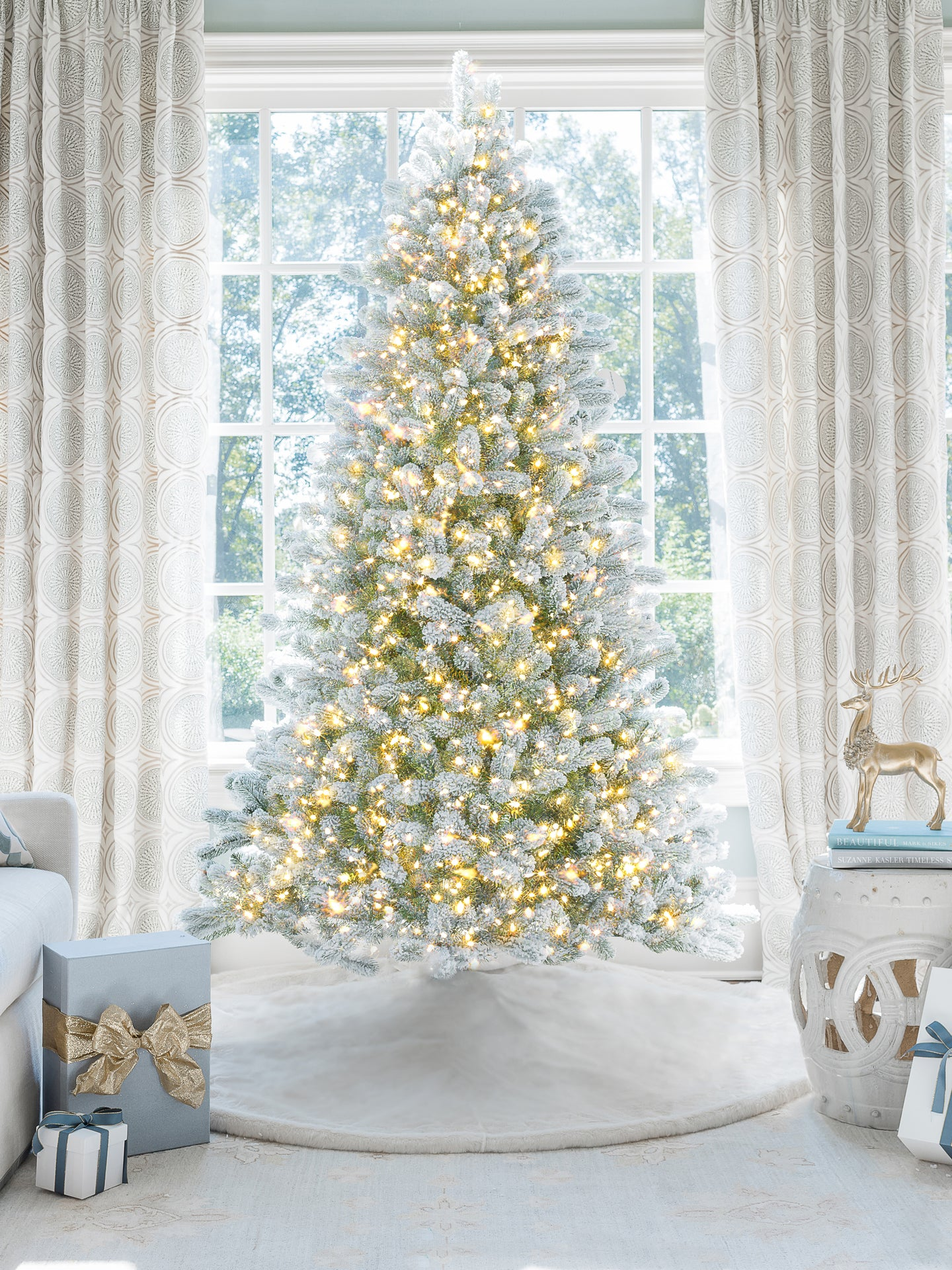 8' King Flock® Artificial Christmas Tree with 900 with Warm White LED Lights