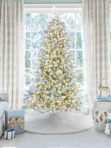 6.5' King Flock® Artificial Christmas Tree with 600 Warm White LED Lights