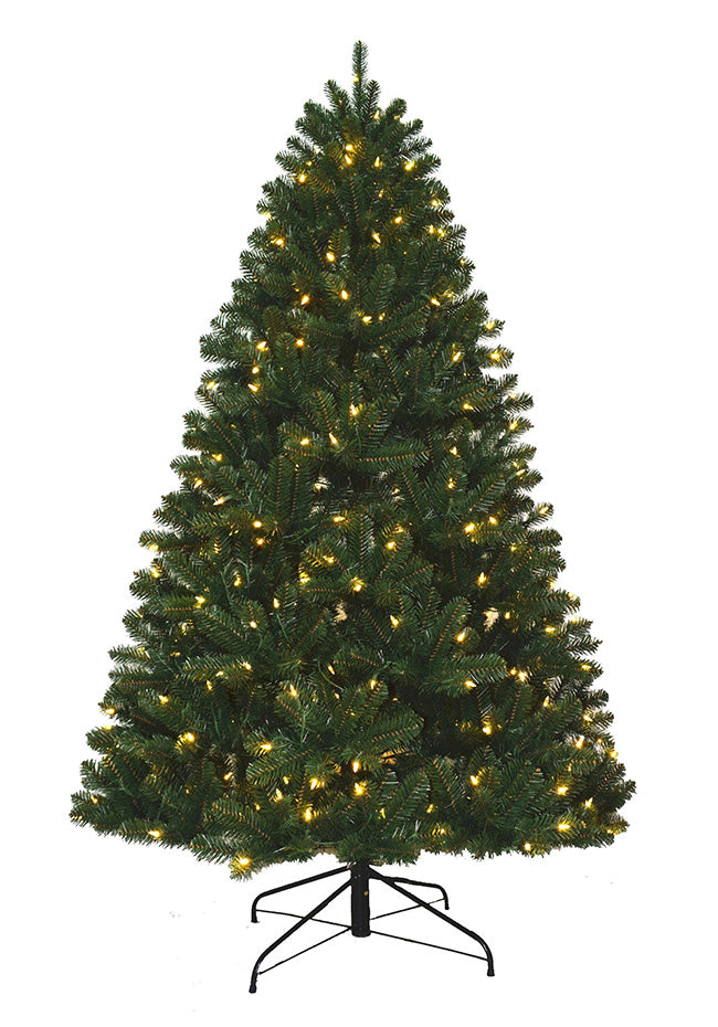9' Hancock Spruce Artificial Christmas Tree with 640 Warm White LED Lights. Final Sale.