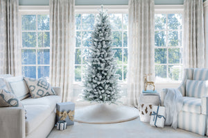 12' King Flock® Slim Quick-Shape Artificial Christmas Tree with 1250 Warm White LED Lights