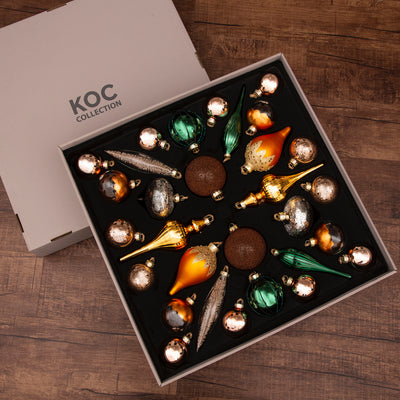 Natural 30-Piece Glass Ornament Set (Burnt-Orange, Green) Limited Edition