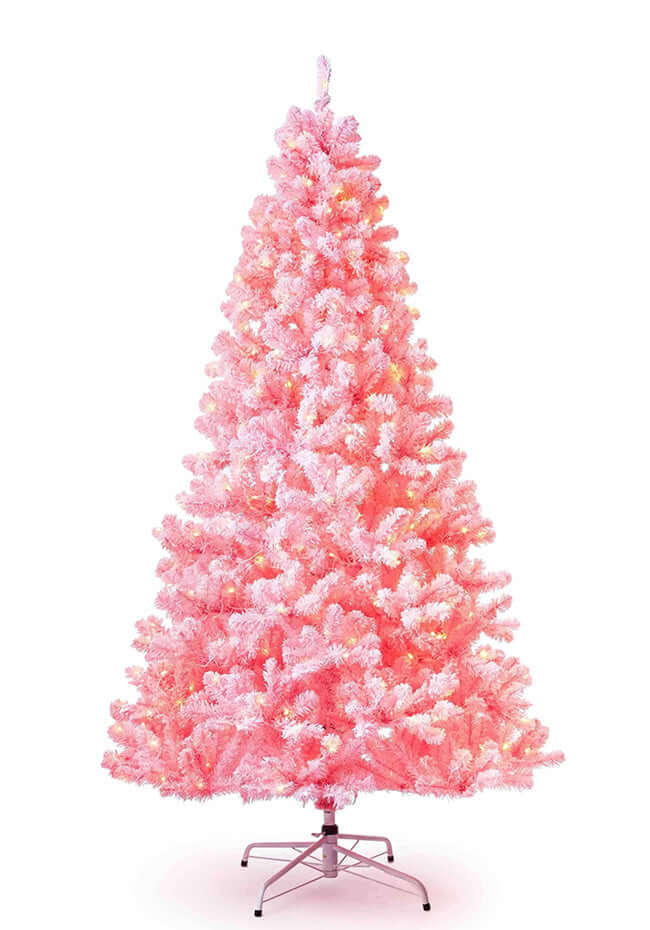 (OPEN BOX) 6.5' Duchess Pink Flock Tree Warm White LED Lights , FINAL SALE