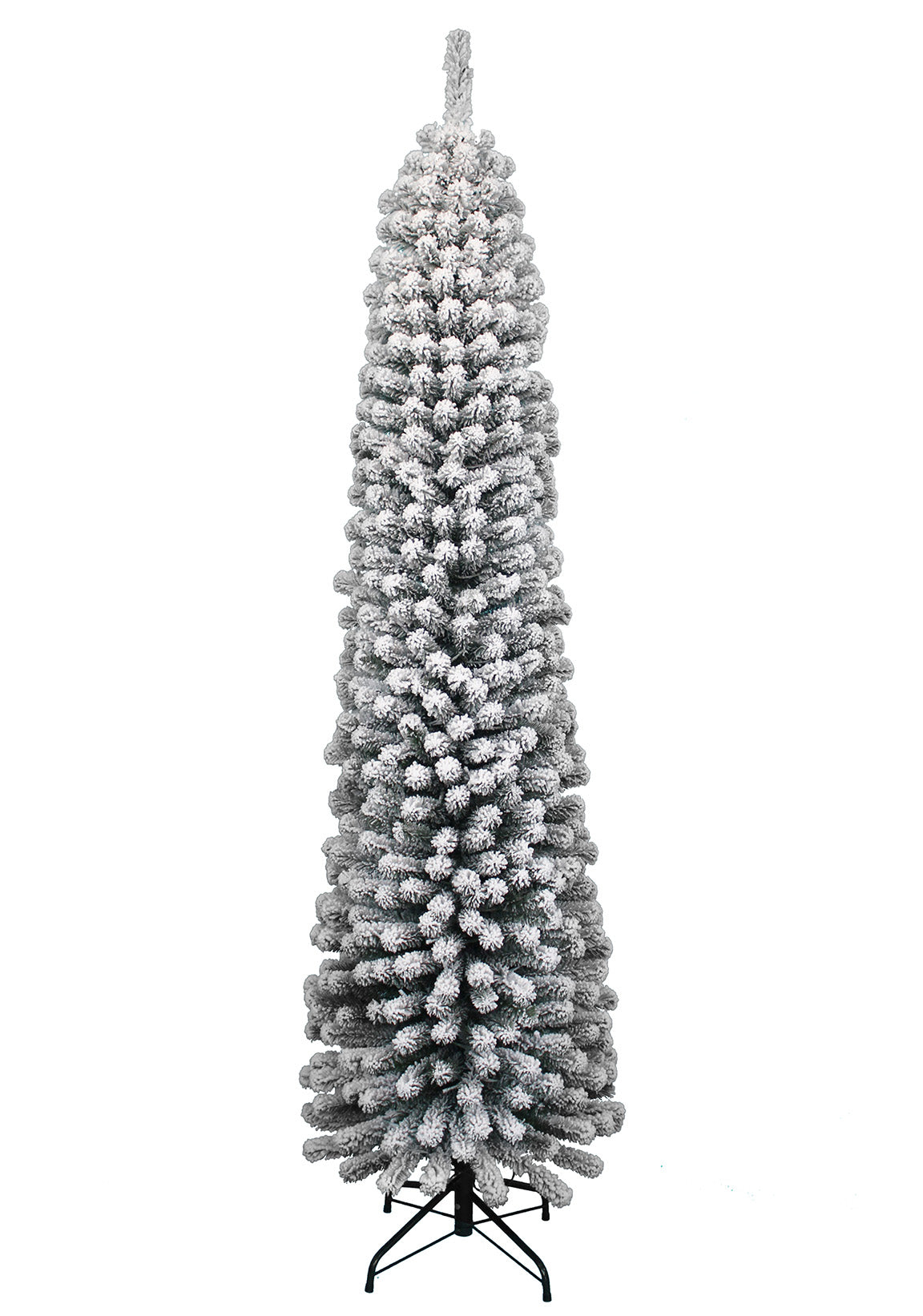 7' Prince Flock Pencil Artificial Christmas Tree with 250 Warm White LED Lights
