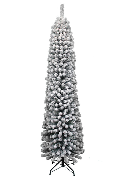 8' Prince Flock Pencil Artificial Christmas Tree with 300 Warm White LED Lights