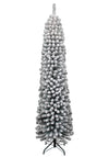 9' Prince Flock Pencil Artificial Christmas Tree Unlit