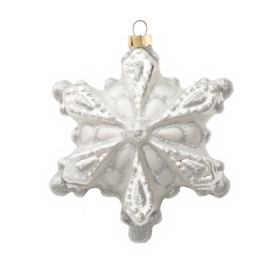 4 Pack Snowflake Glass Ornament